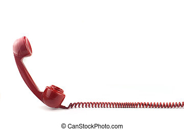 Telephone receiver and curly cord - Old fashioned 1970s or...