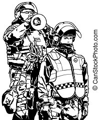 Police Heavy Armor - Black and White Illustration, Vector