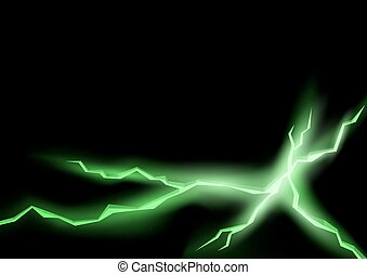 Green Lightning Cracks with Glowing Effect - Abstract...