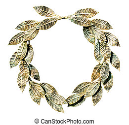 Bronzed laurel wreath. - Bronzed laurel wreath on a white...