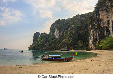Long tail boats on the coast of Andaman sea in Krab,i...