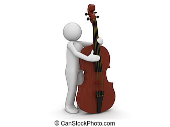 Contrabass - 3d characters isolated on white background...