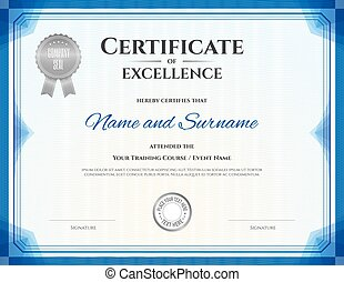 Certificate of excellence template in vector for achievement...