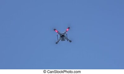 Aerial drone flying in the sky