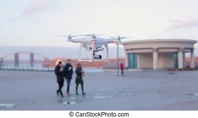 Aerial drone flies over the city waterfront