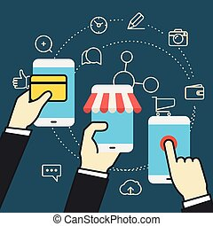 Digital commerce illustration. Online shopping with modern device