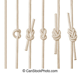 Rope knots - Set of rope knots on white background isolated...