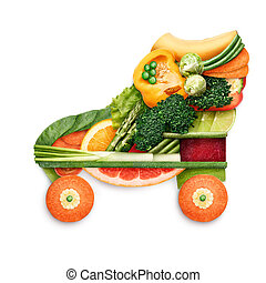 Healthy skating. - Healthy food concept of quad roller...