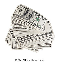 Dollars. - Stack of dollars on white background (isolated).
