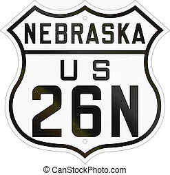 Historic Nebraska Highway Route shield from 1926 used in the...