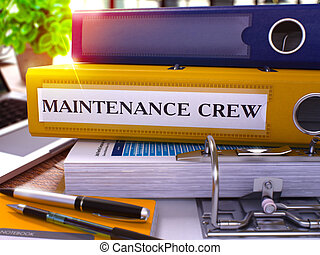 Yellow Ring Binder with Inscription Maintenance Crew -...