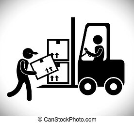 Logistic and forklift icon design - Logistic concept with...