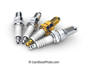 Sparkplugs on white background