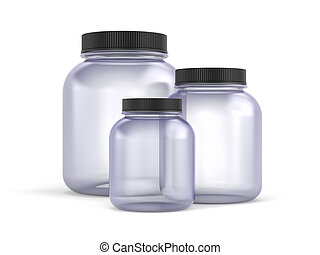 Glass Jars with gold covers on white background