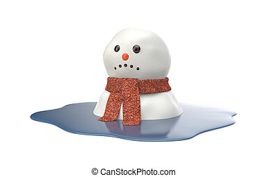 Snowman melting on white background