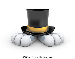 Rabbit in the hat - Black Top hat with gold stripe from...