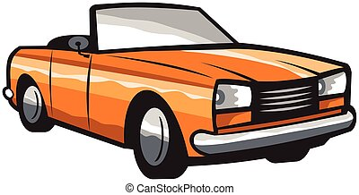 Vintage Cabriolet Top-Down Car Isolated Retro - Illustration...