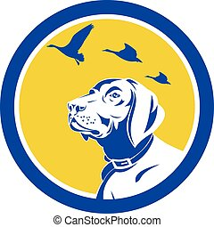 English Pointer Dog Head Looking Up Circle Retro -...