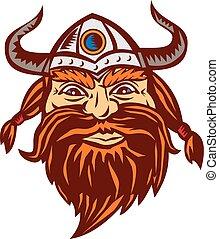 Viking Warrior Head Angry Isolated Retro