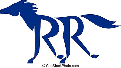 Blue Horse Silhoutte RR Legs Running Retro - Illustration of...