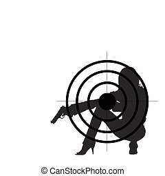 girl with gun and target illustration