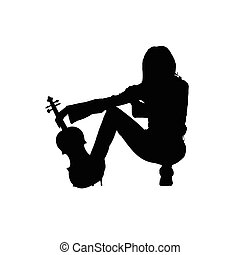 girl with violin illustration silhouette