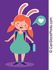 Cute Bunny Girl Ready to go to School - Vector illustration...