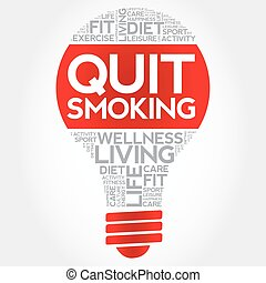 Quit Smoking bulb word cloud