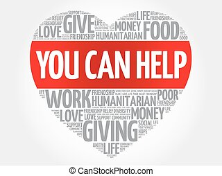 You can help word cloud, heart concept