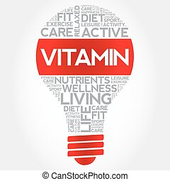 VITAMIN bulb word cloud, health concept