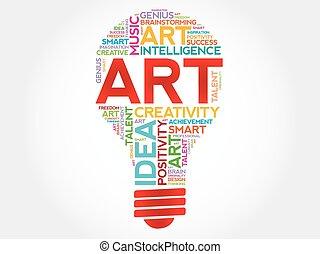 ART bulb word cloud concept