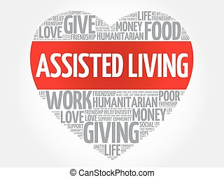 Assisted Living word cloud, heart concept