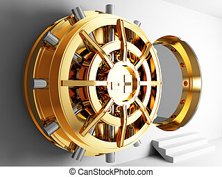 bank vault door 3d - bank golden vault door 3d