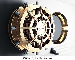 bank vault door 3d - bank golden vault door 3d