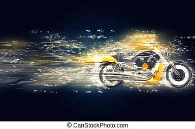 Yellow heavy bike stardust illustration