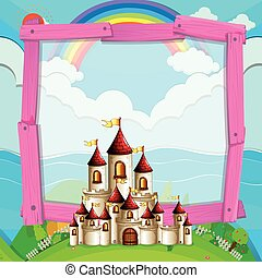Frame design with castle in the field illustration