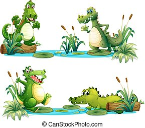 Crocodiles living in the pond illustration