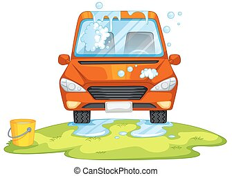 Car washing in the park