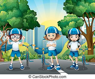 Three kids riding bicycle on the road