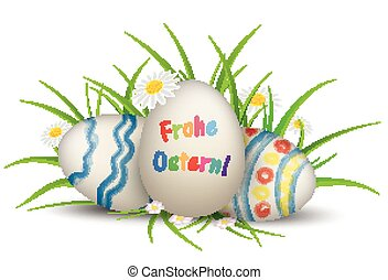 3 Easter Egss Grass Flowers Frohe Ostern - German text Frohe...