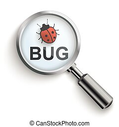 Bug Loupe - Loupe with text and red bug on the white.