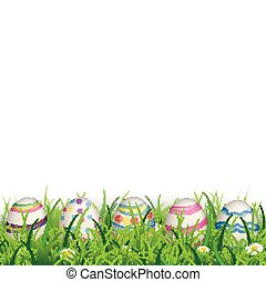 Colored Nature Easter Eggs Grass Sale - Green grass with...