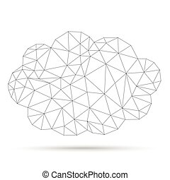 Low Poly Cloud Network - Low poly cloud network on the white...
