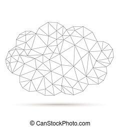 Low Poly Cloud Network - Low poly cloud network on the white...