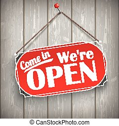 Sign Wooden Background Open - Red hanging sign with text...
