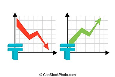 Falling and rising tenge, oil. Red down arrow. Green up arrow. Kazakhstan currency quotes reduction money. Increase of sales volumes of market for cash. Set graph  for business infographic