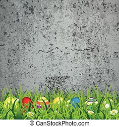 Colored Easter Eggs Grass Concrete - Green grass with...
