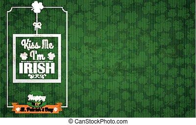 Long Vintage Background St Patricks Day Kiss Me - Vintage...