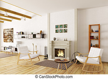 Interior of lounge room with fireplace 3d render - Interior...