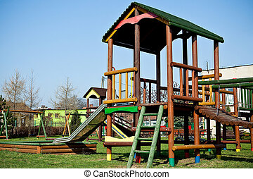 Colorful wooden playground for children